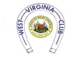 a blue horseshoe with West Virginia Club written in blue that surrounds the West Virginia state seal with